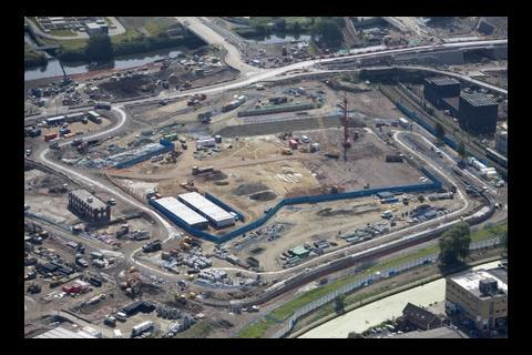 Construction work starts on the handball arena, July 2009, aerial view